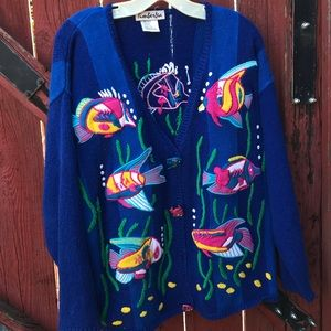 Fish Embroidered Cardigan